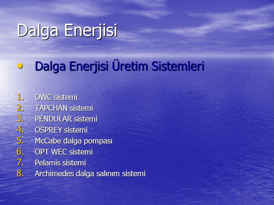 Dalga Enerjisi Dalga Enerjisi Üretim Sistemleri OWC sistemi
