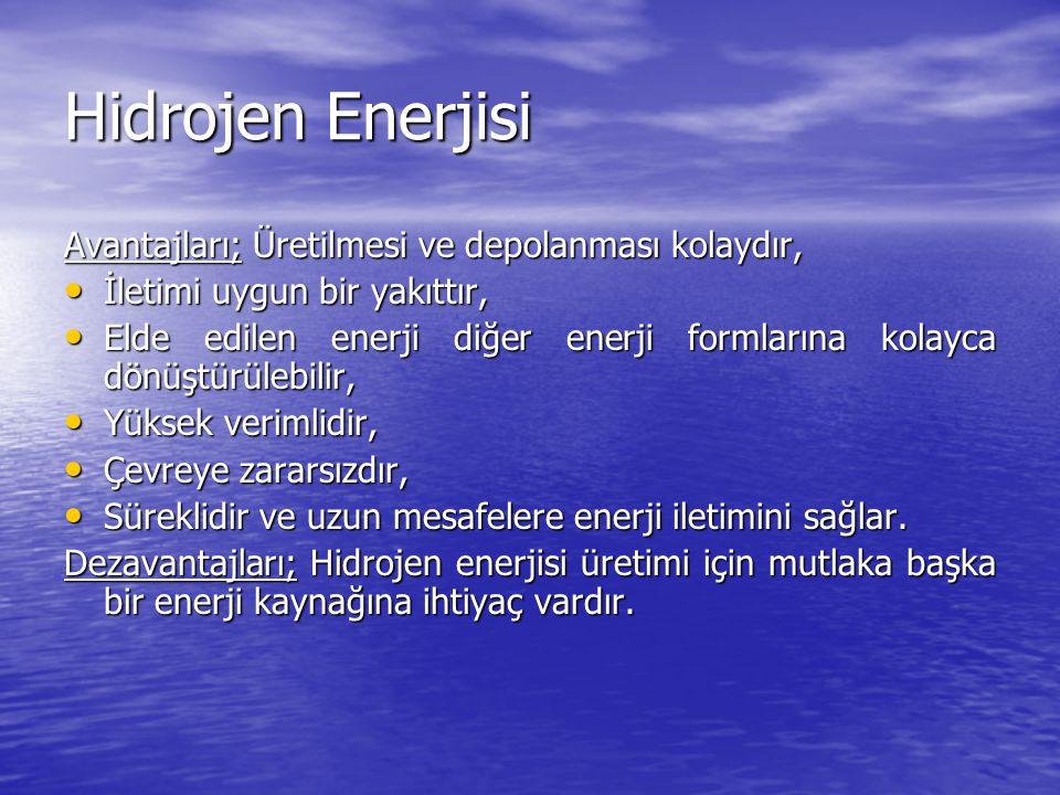Hidrojen Enerjisi Avantajları; Üretilmesi ve depolanması kolaydır,