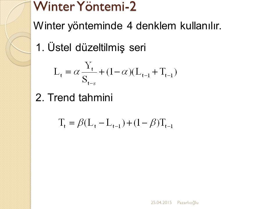Winter Yöntemi-2 Winter yönteminde 4 denklem kullanılır.