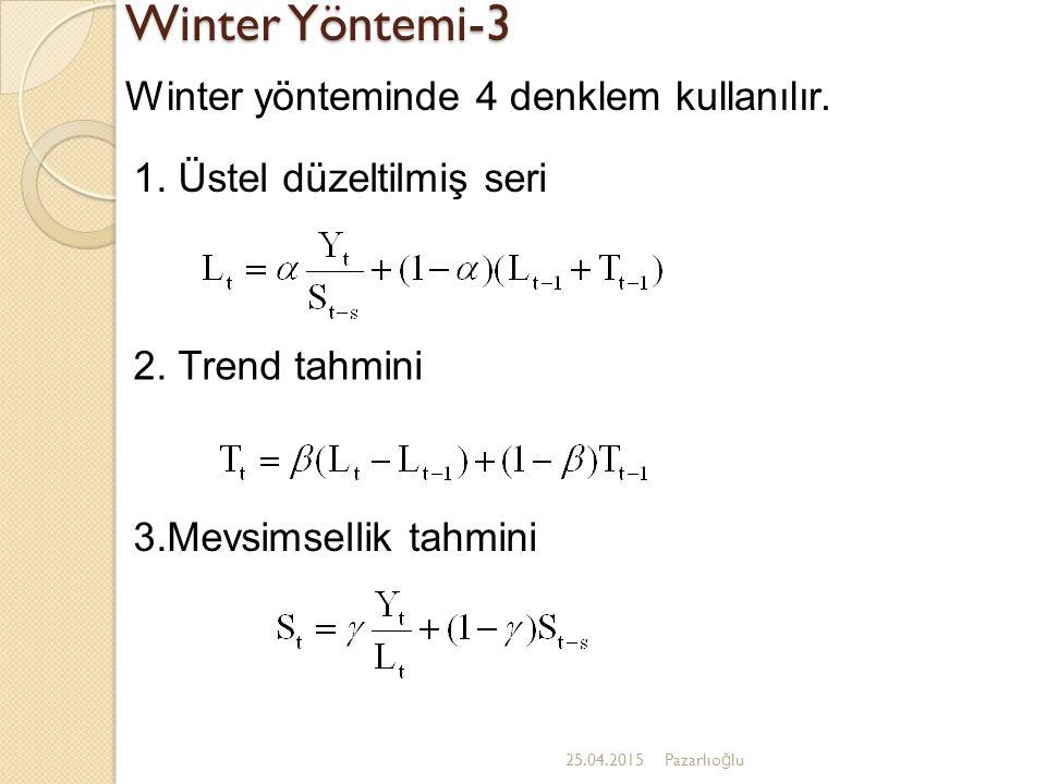 Winter Yöntemi-3 Winter yönteminde 4 denklem kullanılır.