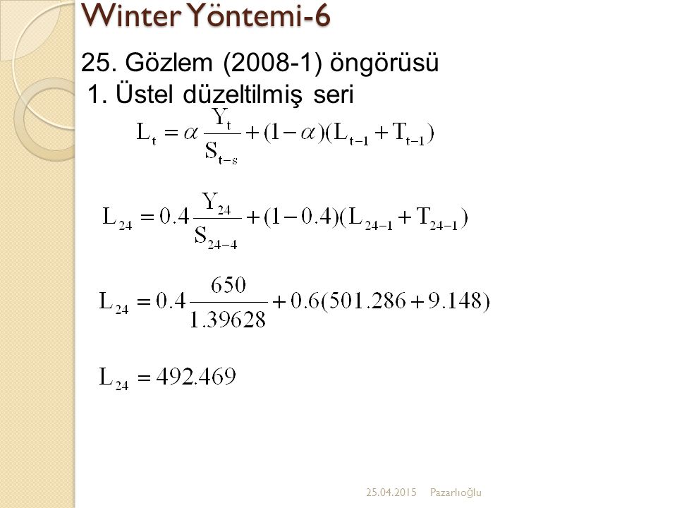 Winter Yöntemi-6 25. Gözlem (2008-1) öngörüsü