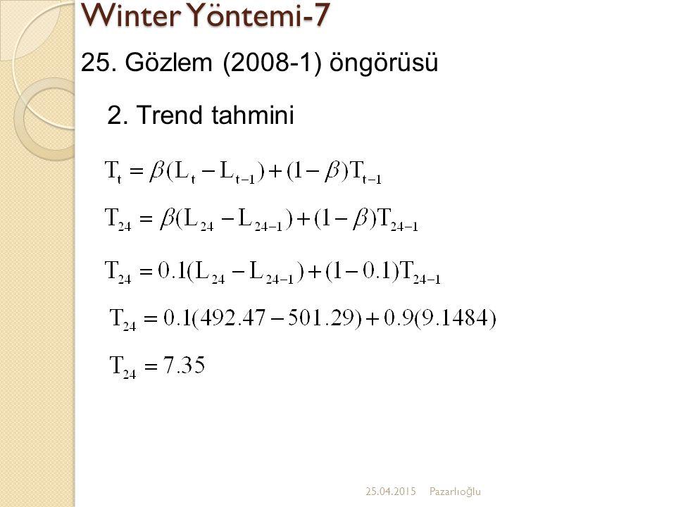 Winter Yöntemi-7 25. Gözlem (2008-1) öngörüsü 2. Trend tahmini