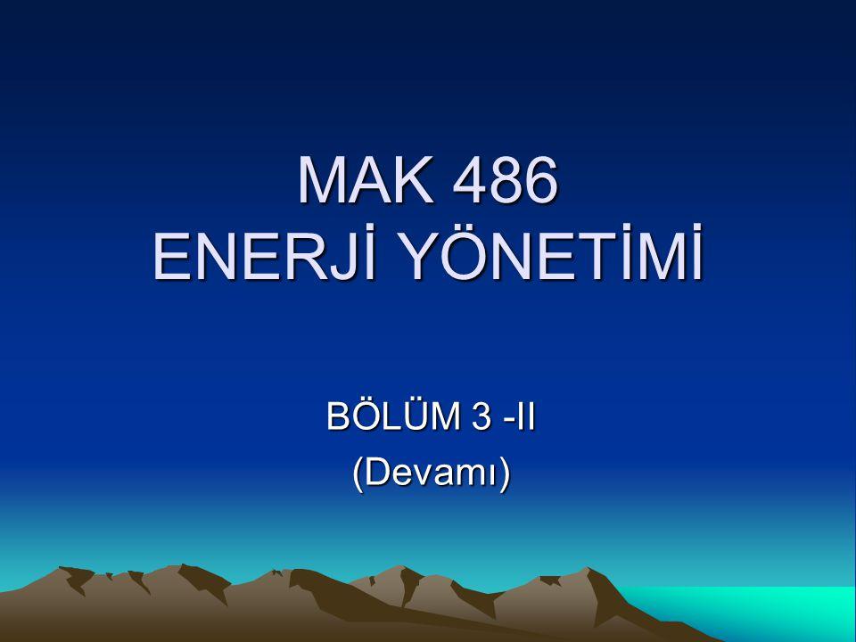 MAK 486 ENERJİ YÖNETİMİ BÖLÜM 3 -II (Devamı)