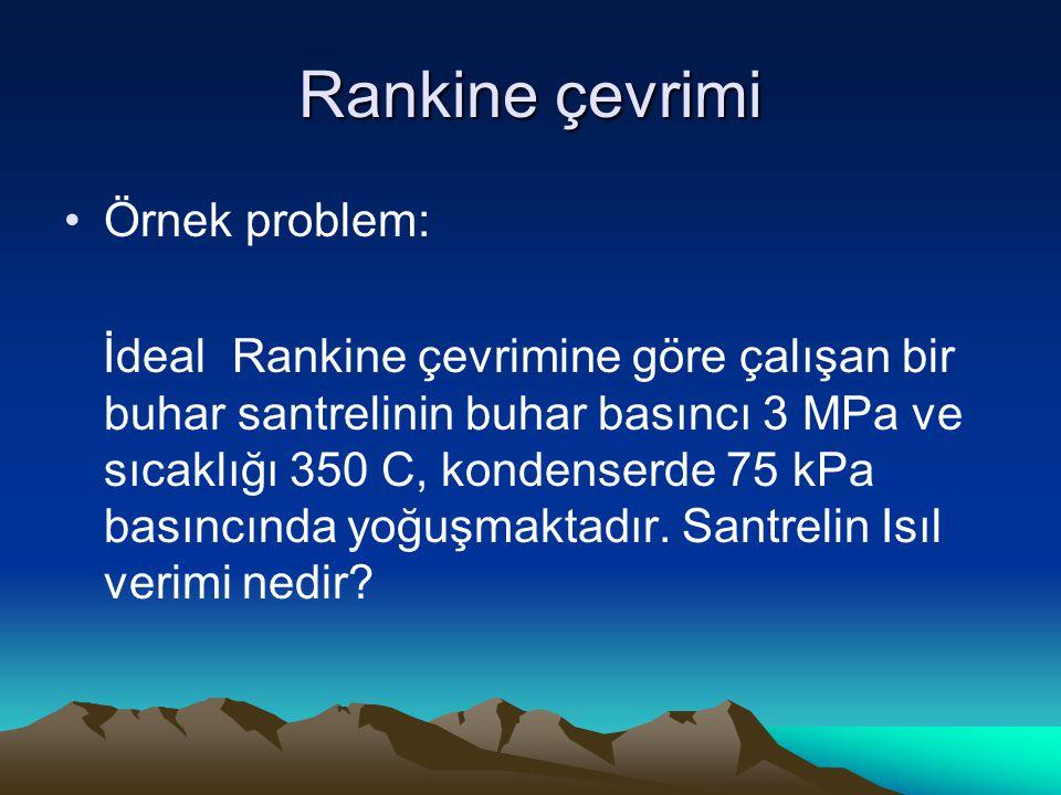 Rankine çevrimi Örnek problem: