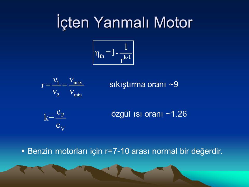 İçten Yanmalı Motor sıkıştırma oranı ~9 özgül ısı oranı ~1.26