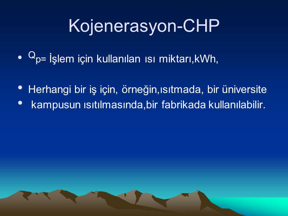 Kojenerasyon-CHP Qp= İşlem için kullanılan ısı miktarı,kWh, Herhangi bir iş için, örneğin,ısıtmada, bir üniversite.