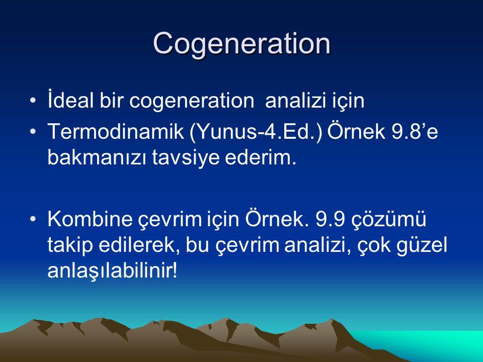 Cogeneration İdeal bir cogeneration analizi için