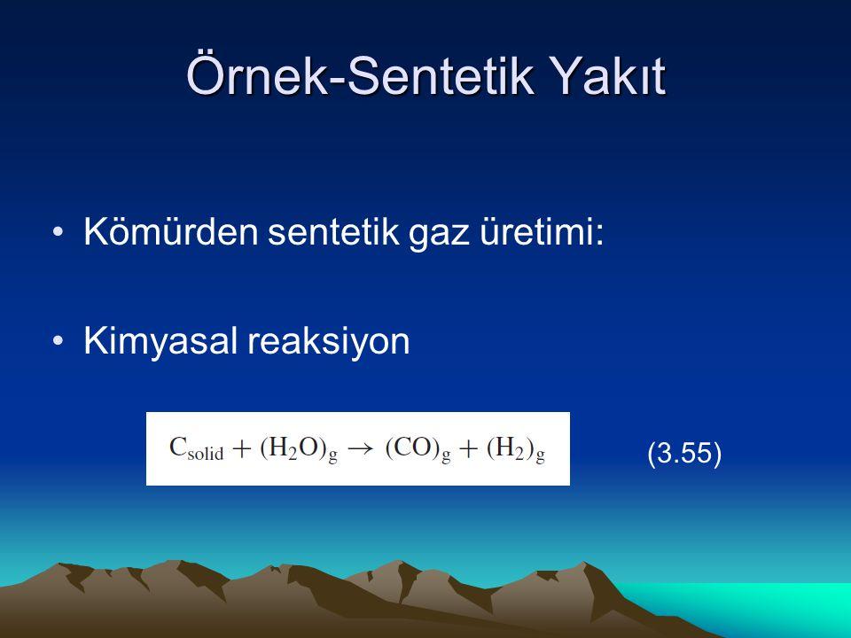 Örnek-Sentetik Yakıt Kömürden sentetik gaz üretimi: Kimyasal reaksiyon