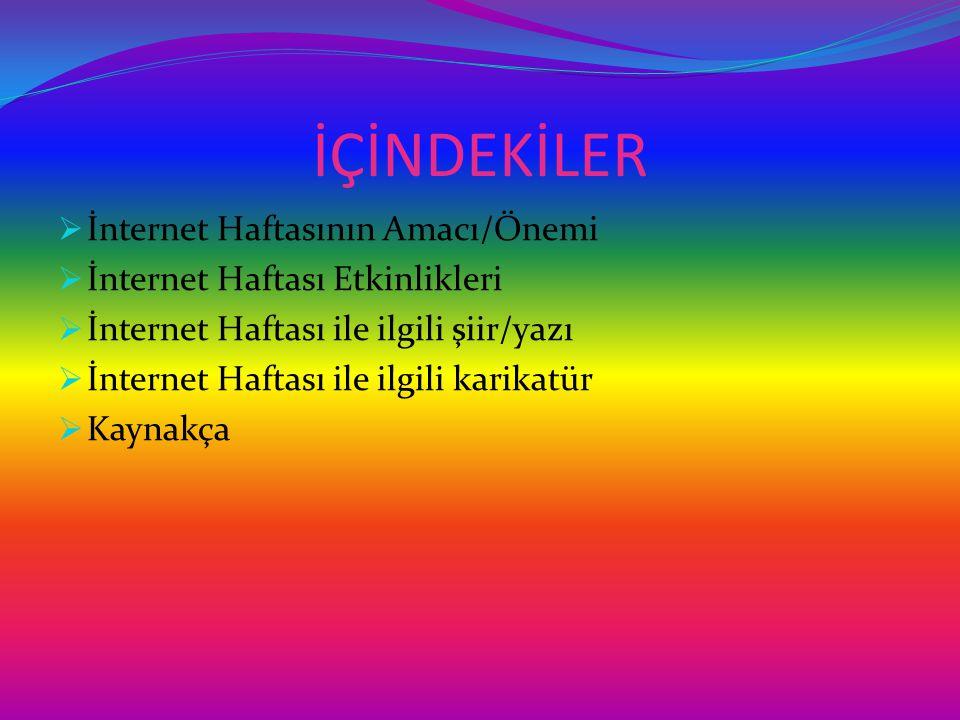 İÇİNDEKİLER İnternet Haftasının Amacı/Önemi