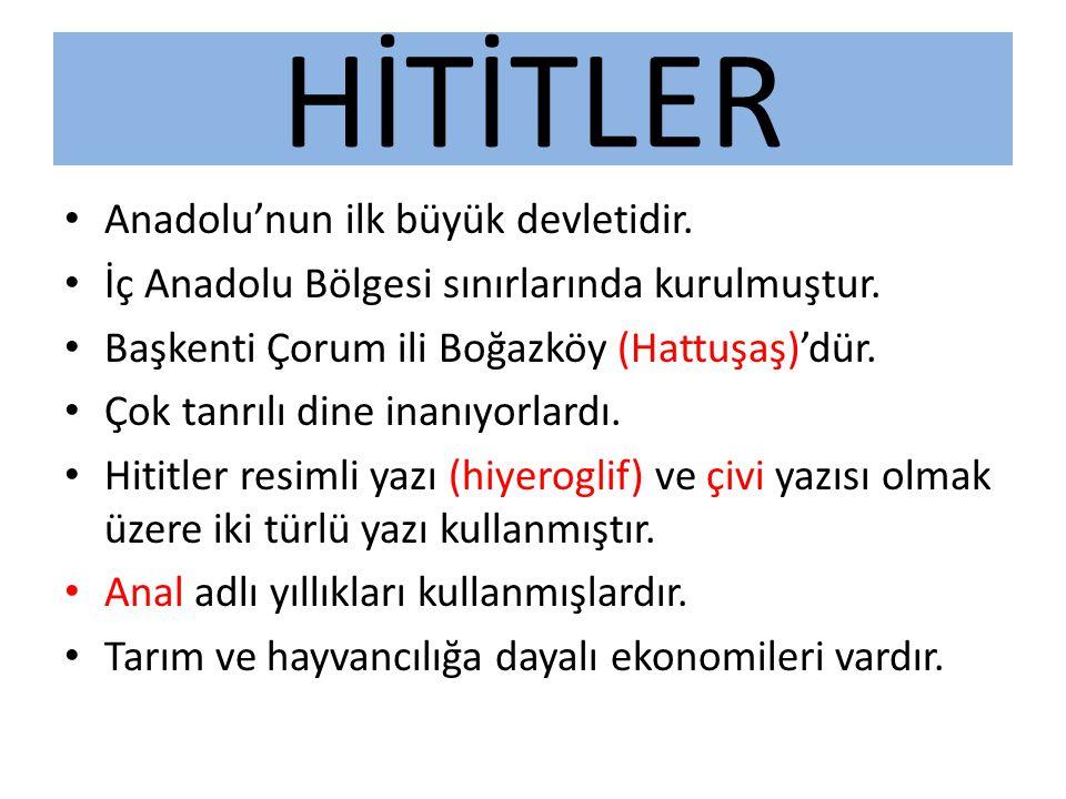 HİTİTLER Anadolu'nun ilk büyük devletidir.