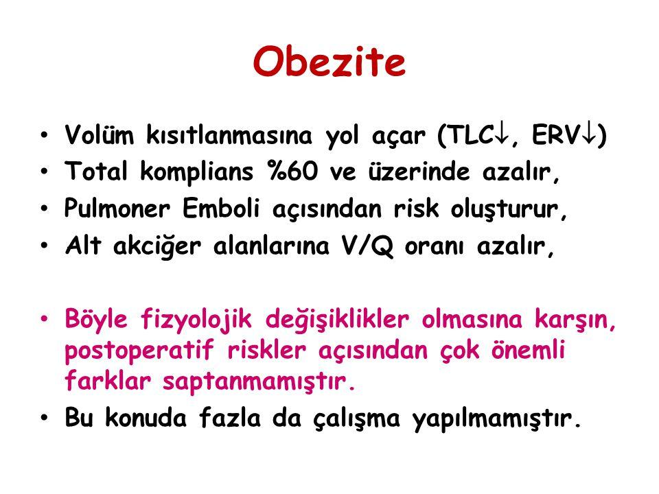 Obezite Volüm kısıtlanmasına yol açar (TLC, ERV)