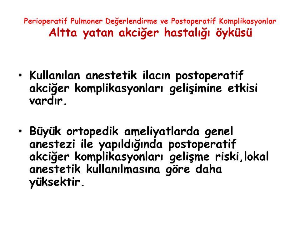 Perioperatif Pulmoner Değerlendirme ve Postoperatif Komplikasyonlar Altta yatan akciğer hastalığı öyküsü