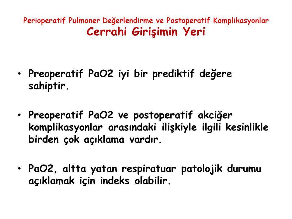 Preoperatif PaO2 iyi bir prediktif değere sahiptir.