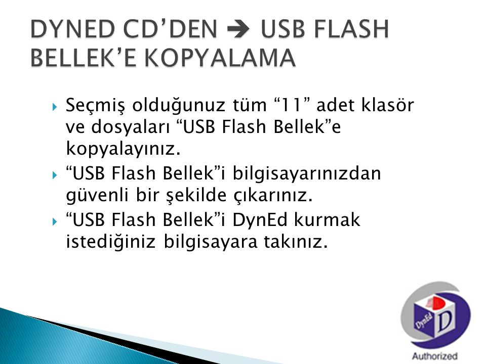 DYNED CD'DEN  USB FLASH BELLEK'E KOPYALAMA