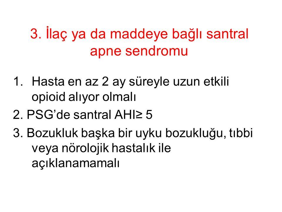 3. İlaç ya da maddeye bağlı santral apne sendromu