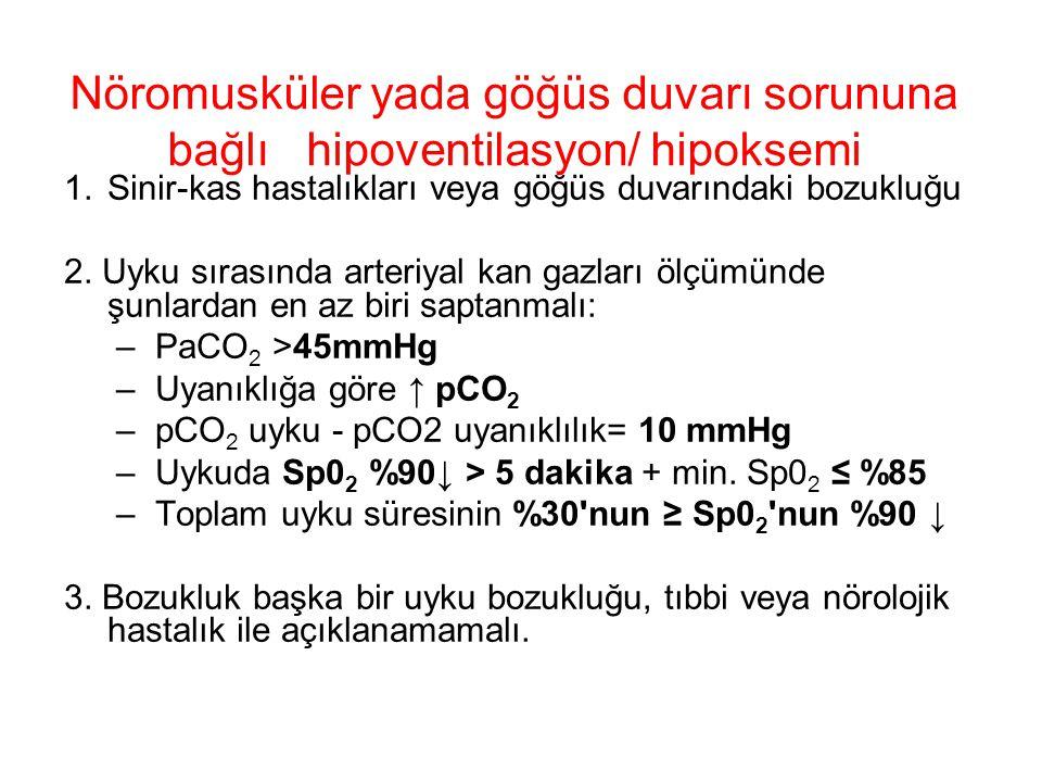 Nöromusküler yada göğüs duvarı sorununa bağlı hipoventilasyon/ hipoksemi
