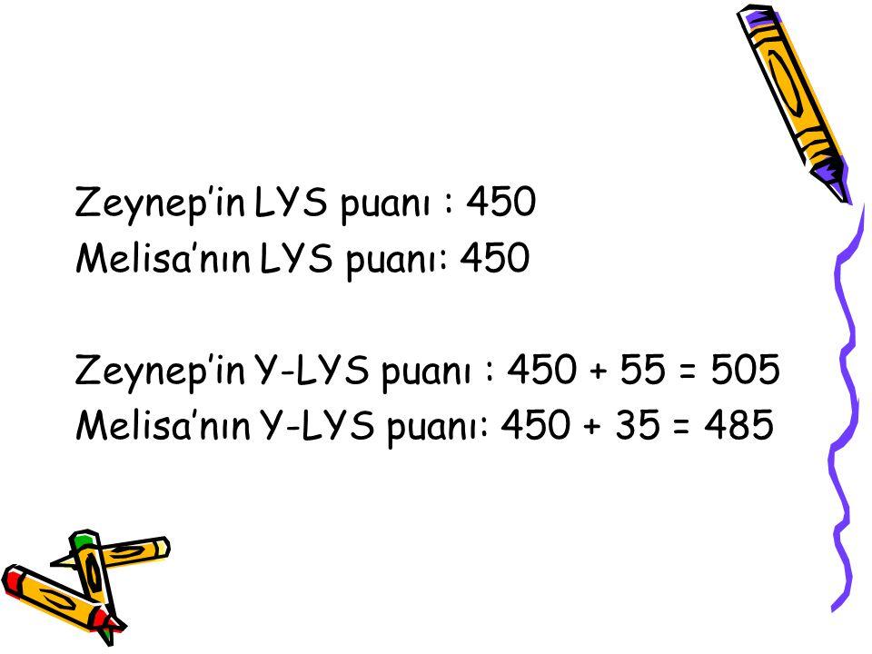 Zeynep'in LYS puanı : 450 Melisa'nın LYS puanı: 450.