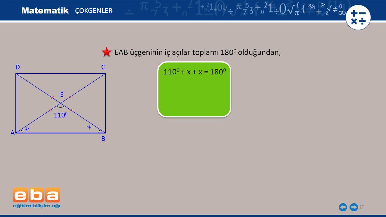 EAB üçgeninin iç açılar toplamı 1800 olduğundan,