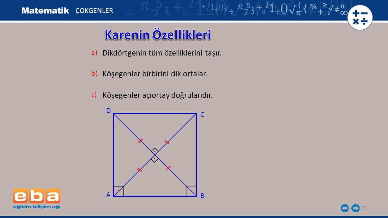Karenin Özellikleri Dikdörtgenin tüm özelliklerini taşır.