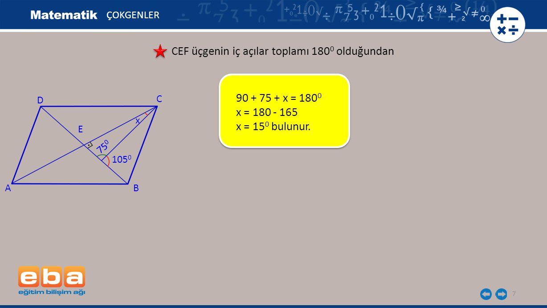 CEF üçgenin iç açılar toplamı 1800 olduğundan