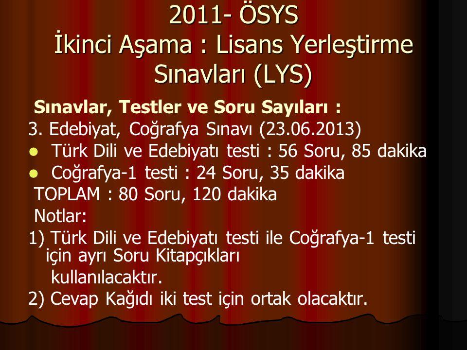 2011- ÖSYS İkinci Aşama : Lisans Yerleştirme Sınavları (LYS)