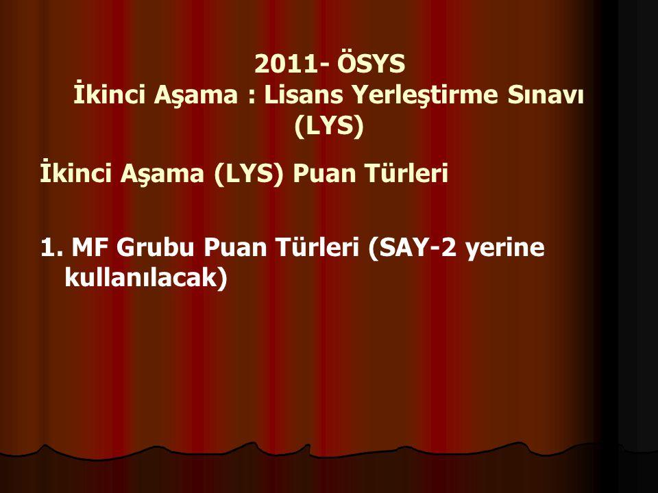 2011- ÖSYS İkinci Aşama : Lisans Yerleştirme Sınavı (LYS)