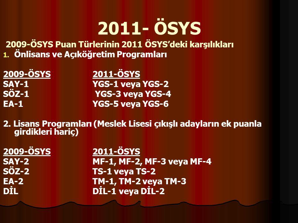 2011- ÖSYS 2009-ÖSYS Puan Türlerinin 2011 ÖSYS'deki karşılıkları