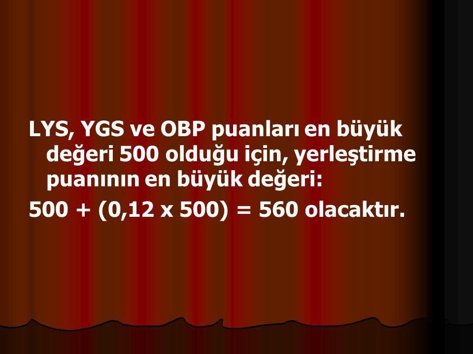 LYS, YGS ve OBP puanları en büyük değeri 500 olduğu için, yerleştirme puanının en büyük değeri: