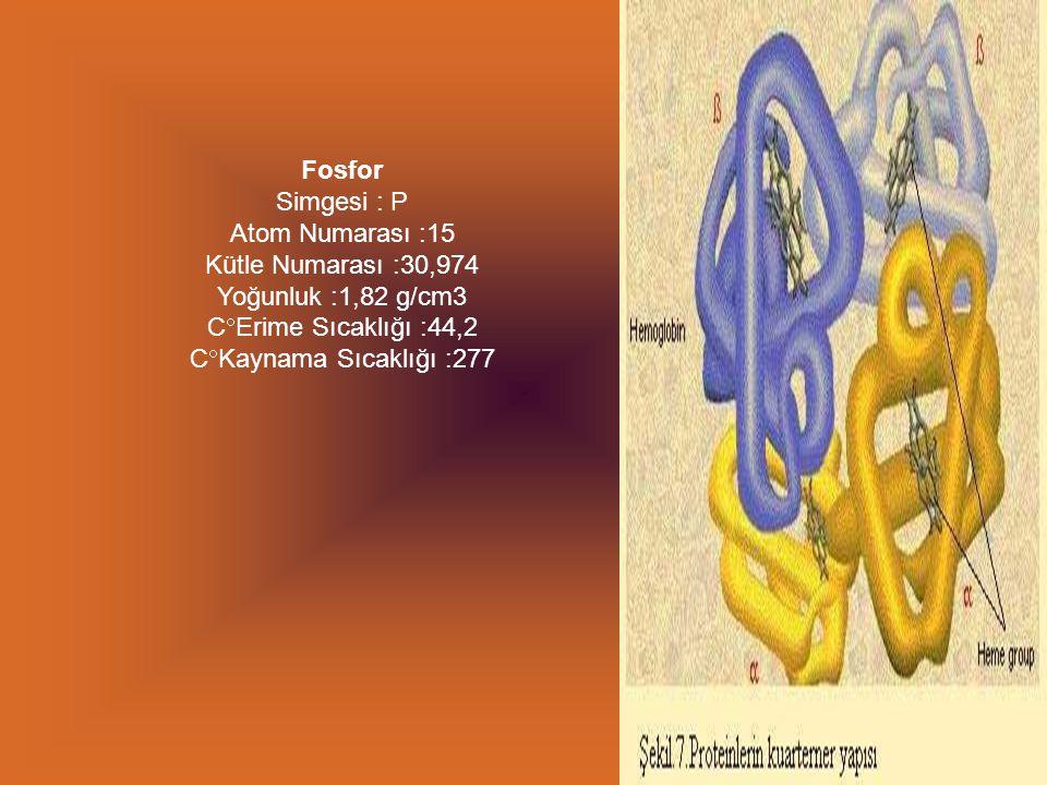 Fosfor Simgesi : P Atom Numarası :15 Kütle Numarası :30,974 Yoğunluk :1,82 g/cm3 CErime Sıcaklığı :44,2 CKaynama Sıcaklığı :277.
