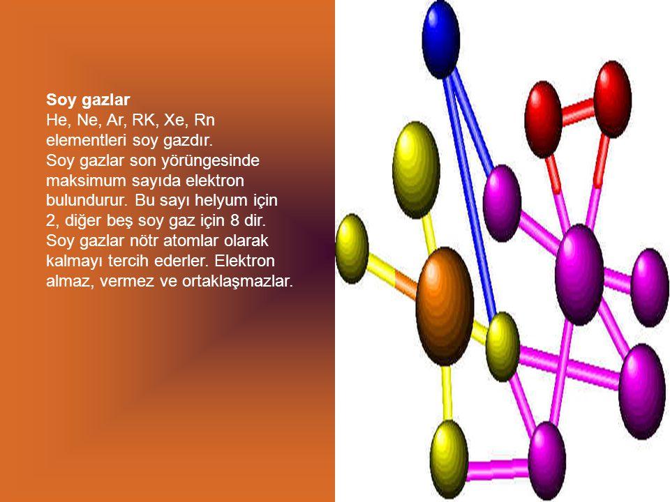 Soy gazlar He, Ne, Ar, RK, Xe, Rn elementleri soy gazdır