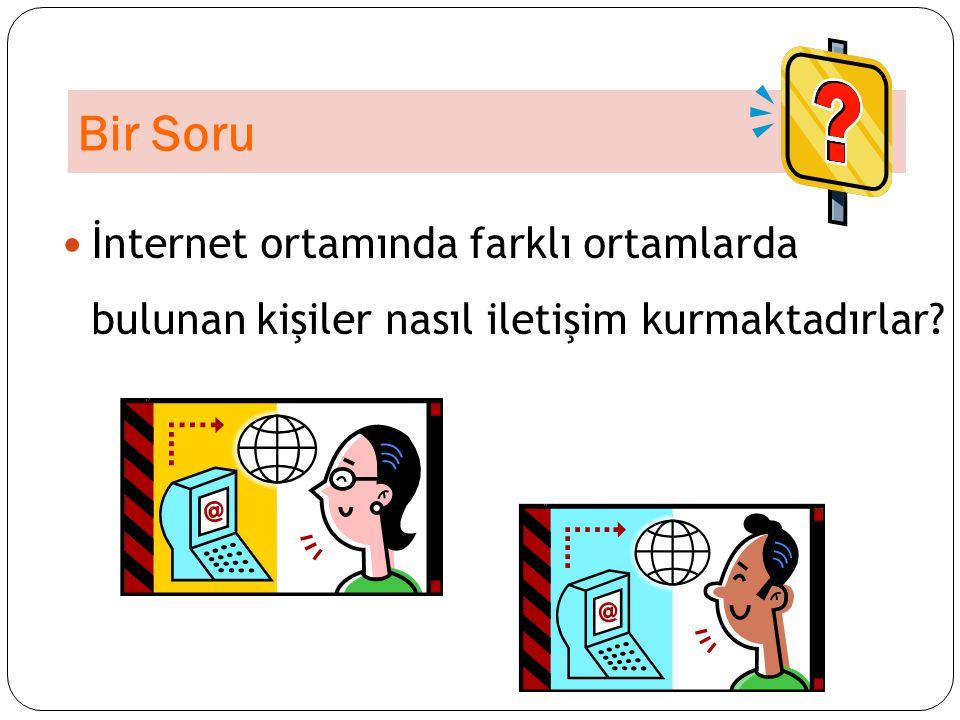 Bir Soru İnternet ortamında farklı ortamlarda bulunan kişiler nasıl iletişim kurmaktadırlar