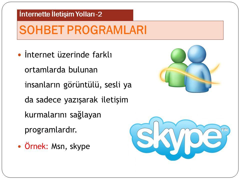 İnternette İletişim Yolları -2