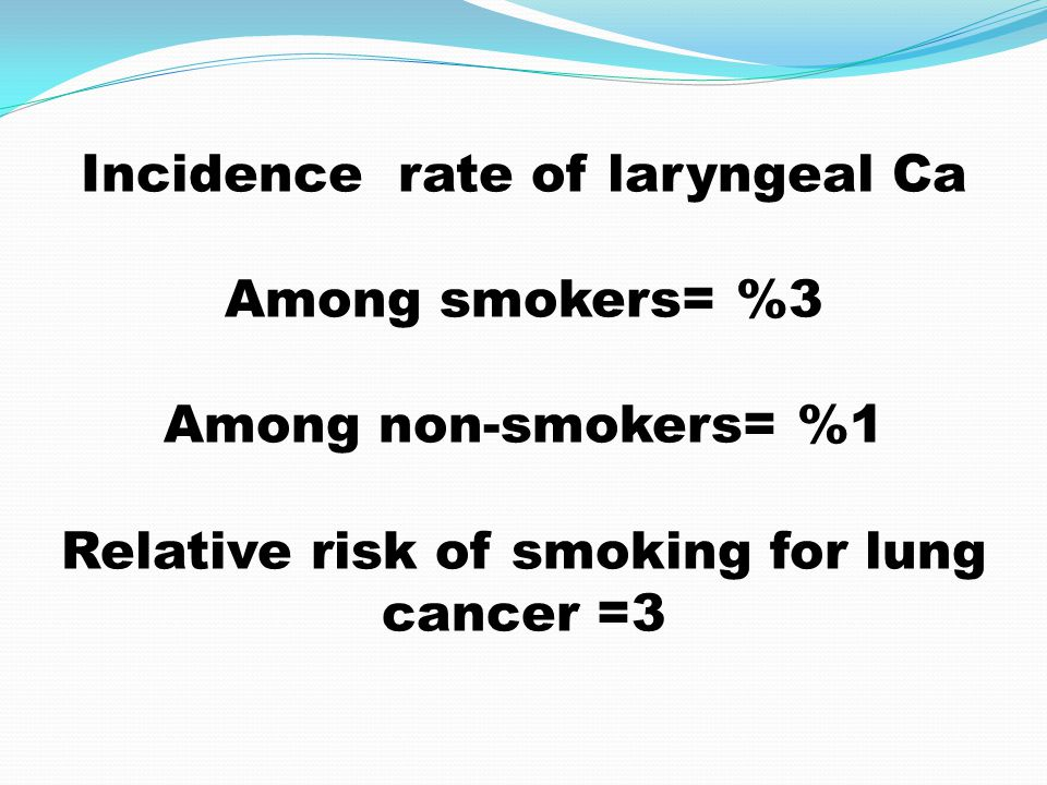 Incidence rate of laryngeal Ca Among smokers= %3 Among non-smokers= %1