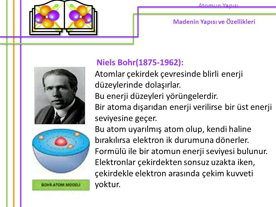 Atomun Yapısı Madenin Yapısı ve Özellikleri. Niels Bohr(1875-1962):