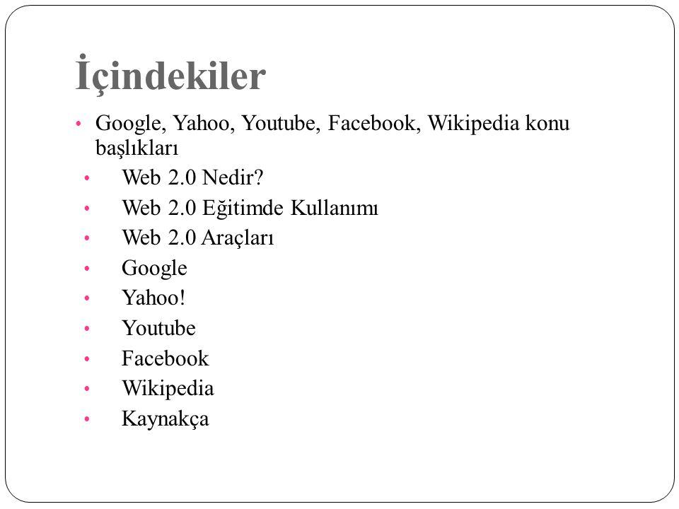 İçindekiler Google, Yahoo, Youtube, Facebook, Wikipedia konu başlıkları. Web 2.0 Nedir Web 2.0 Eğitimde Kullanımı.