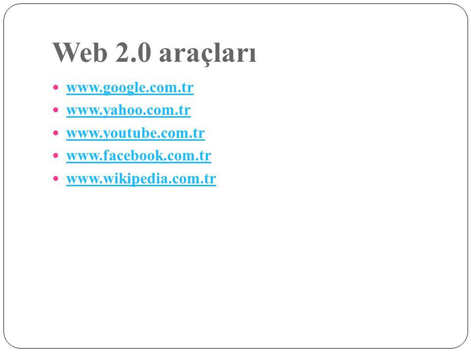 Web 2.0 araçları www.google.com.tr www.yahoo.com.tr www.youtube.com.tr