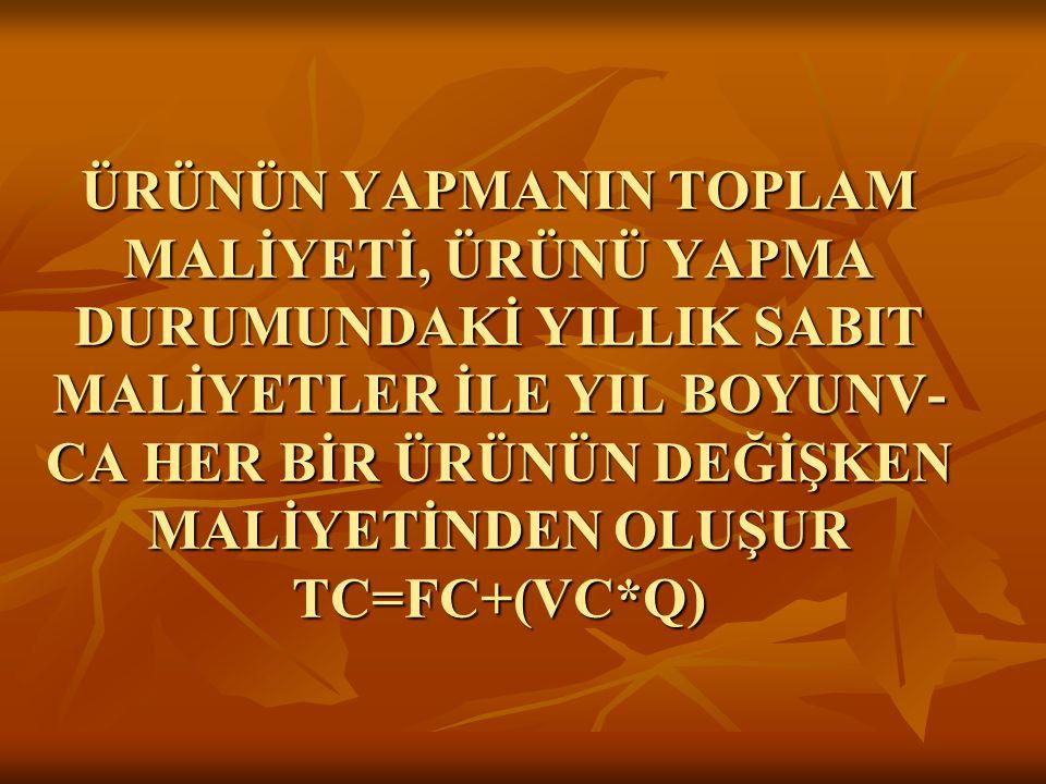 ÜRÜNÜN YAPMANIN TOPLAM MALİYETİ, ÜRÜNÜ YAPMA DURUMUNDAKİ YILLIK SABIT MALİYETLER İLE YIL BOYUNV-CA HER BİR ÜRÜNÜN DEĞİŞKEN MALİYETİNDEN OLUŞUR TC=FC+(VC*Q)
