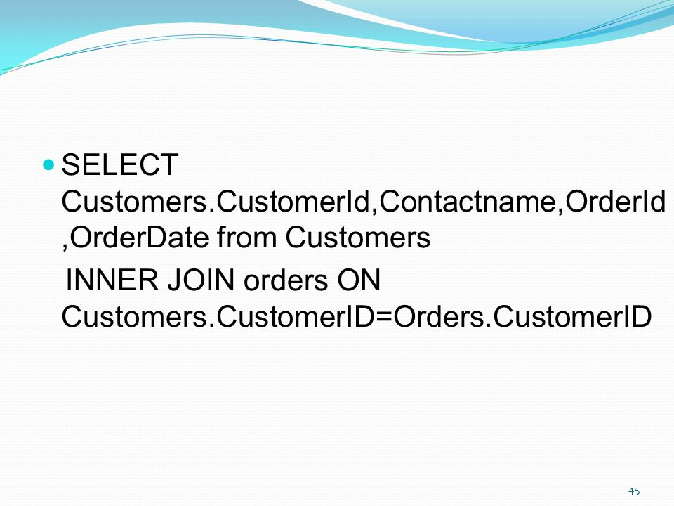 SELECT Customers.CustomerId,Contactname,OrderId,OrderDate from Customers