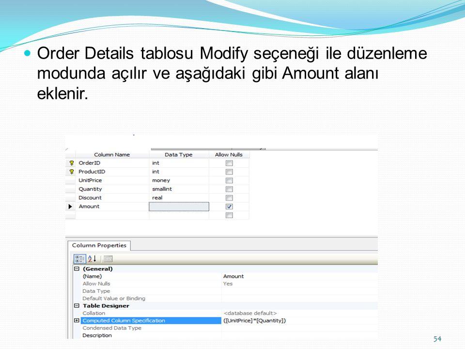 Order Details tablosu Modify seçeneği ile düzenleme modunda açılır ve aşağıdaki gibi Amount alanı eklenir.