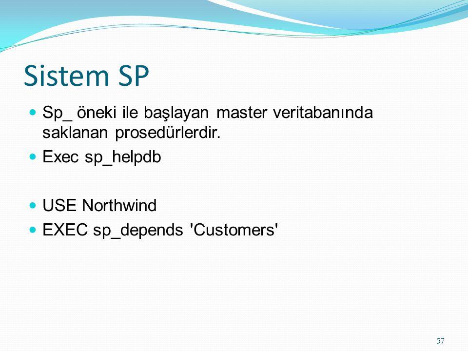 Sistem SP Sp_ öneki ile başlayan master veritabanında saklanan prosedürlerdir. Exec sp_helpdb. USE Northwind.