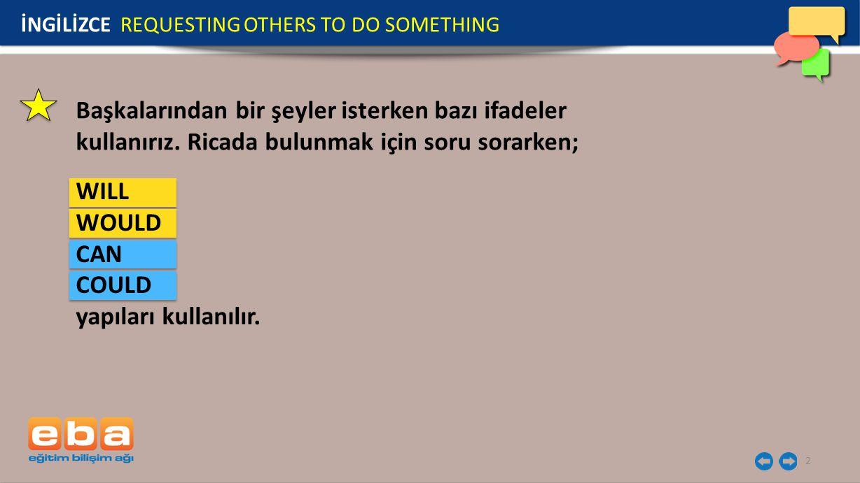 İNGİLİZCE REQUESTING OTHERS TO DO SOMETHING