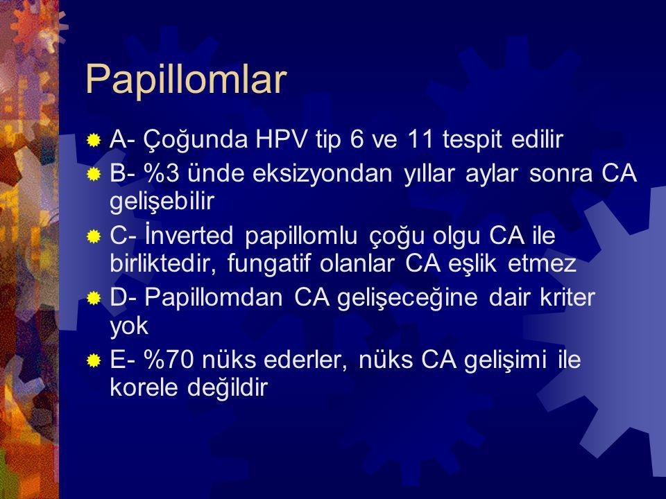 Papillomlar A- Çoğunda HPV tip 6 ve 11 tespit edilir