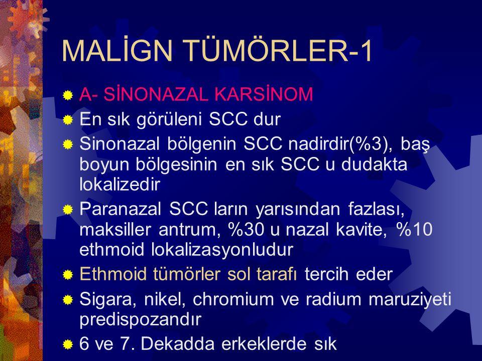 MALİGN TÜMÖRLER-1 A- SİNONAZAL KARSİNOM En sık görüleni SCC dur