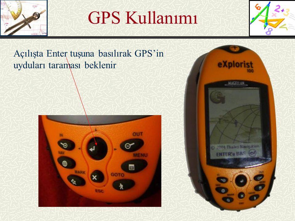 GPS Kullanımı Açılışta Enter tuşuna basılırak GPS'in uyduları taraması beklenir