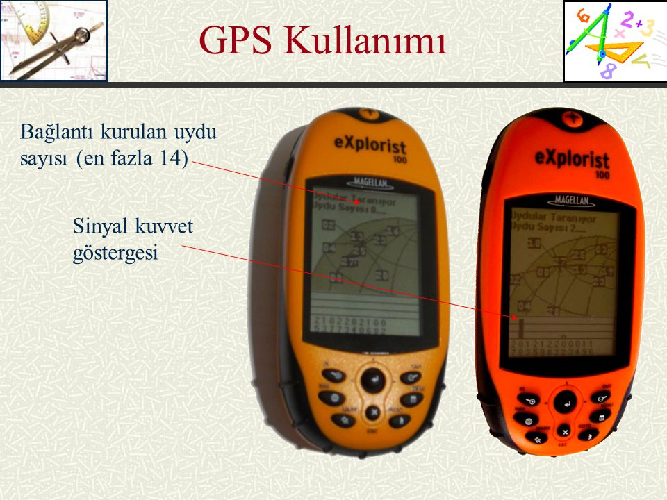GPS Kullanımı Bağlantı kurulan uydu sayısı (en fazla 14) Sinyal kuvvet