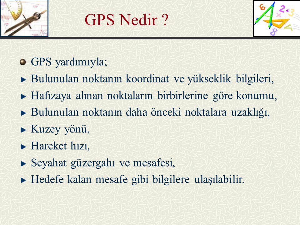 GPS Nedir GPS yardımıyla;