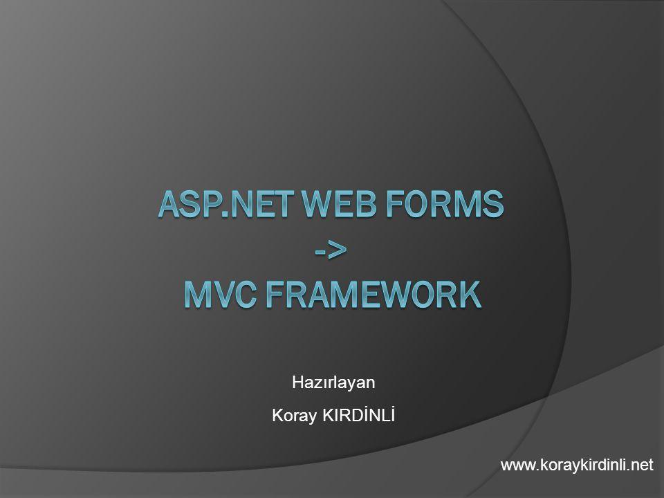 ASP.NET Web FORMS -> MVC FRAMEWORK