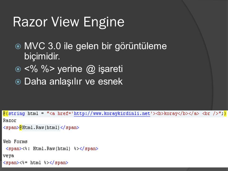 Razor View Engine MVC 3.0 ile gelen bir görüntüleme biçimidir.