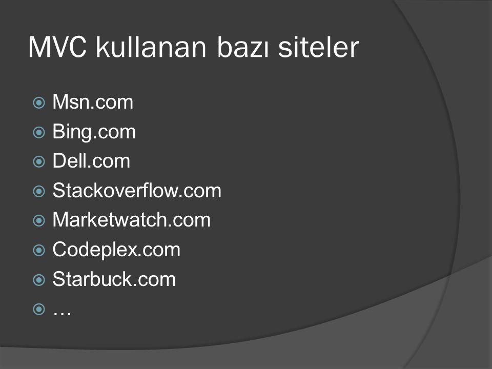 MVC kullanan bazı siteler