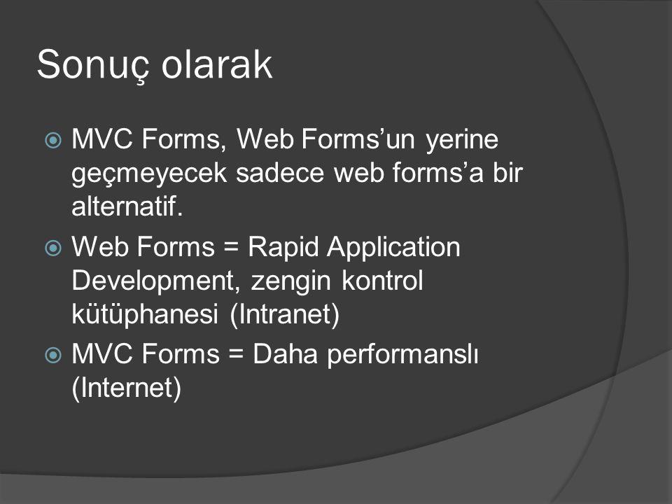 Sonuç olarak MVC Forms, Web Forms'un yerine geçmeyecek sadece web forms'a bir alternatif.